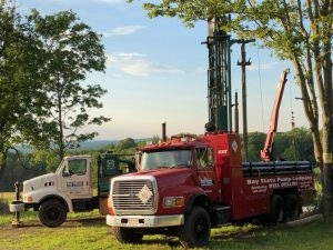 Red drilling truck